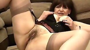 Brunette with stockings really hot and makes famous sexy homemade video