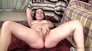 Amazing brunette with great tits gets her shaved pussy fingered