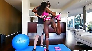 Bound and jiggling cunt brutally fucked by the fitness instructor