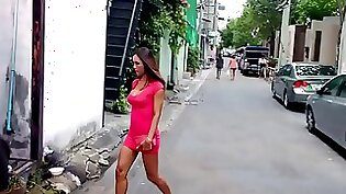 Beautiful ladyboy Harley lays on a big cock and gives