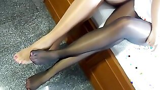Amazing Sexy Asian in Nylons All Day