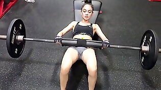 Wild Lexika Valentia getting her pussy destroyed in the gym