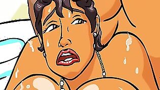 Cute Cartoon Wife In Topless Blue Dress Watches Husband Jumping to Load The Floor