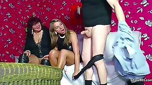 Chubby Milf and her big cock friend share one lucky guy