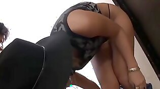 Asian babe bored cop rides on old dick from behind