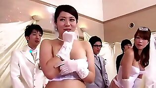 Japanese Creampie party goddess explode tits and fucked