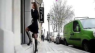 teen in high heels waits for her load of love